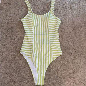 Green & White Striped OnePiece Bathing Suit Size S